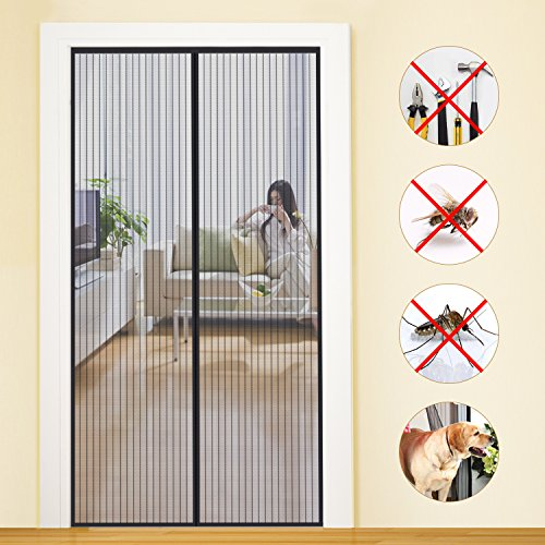 Vorhang Für Balkontür Wohnzimmer Schiebetür Terrassentür U2013 Fliegengitter  Tür Insektenschutz Magnet Fliegenvorhang 90*210 | 110*220 U2013 Klebmontage  Ohne Bohren